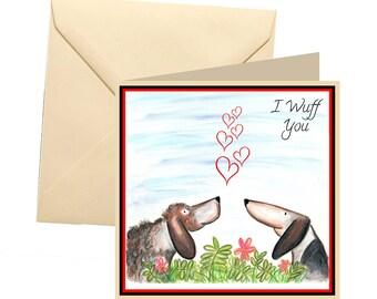 Dog valentines card, valentines card, I wuff you valentines card, fun valentines card, lovers card, love you card