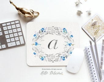 Monogram Mouse Pad Mousepad Floral Watercolor Mouse Mat Wreath Mouse Pad Office Mousemat Rectangular Floral Personalized Mousepad Round 16.