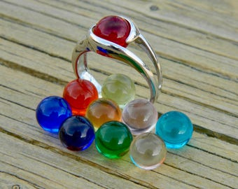 Interchangeable ring with 10 - 8mm glass stones