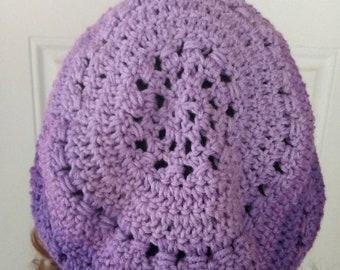 Purple slouchy hat, crochet slouchy hat, women's slouch hat, slouchy beanie, purple women's hat, winter hat, oversized hat, purple beanie