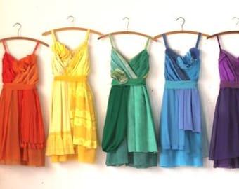 Custom Rainbow Bridesmaids Dresses