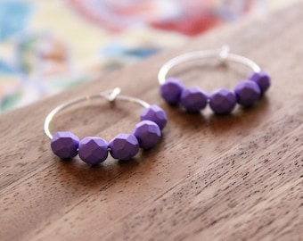 sterling silver bright purple czech glass hoop earrings