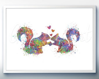 Squirrel Kissing Watercolor Art Print  - Home Living - Animal Painting - Squirrel Poster - Wall Decor - Home Decor - House Warming Gift[1]