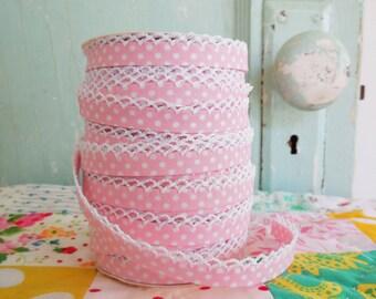 Soft Pink Polka Dot Crochet Bias Tape (No. 2) Quilt Binding Sewing Supplies