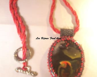 Women pendant necklace and the wave of clay polymer and Japanese beads