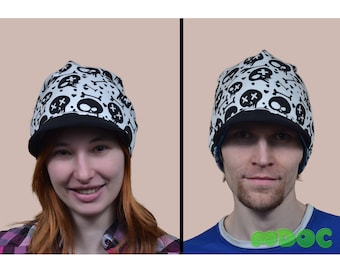 Skull Blue Moro Cute Kawaii Cotton Visor Beanie Hat double-sided Adult Teen Kid Men Women