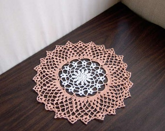 Peach and White Crochet Lace Doily, Table Decor, Cottage Chic, 11 Inch Doily, White Flower, Peach Lace Home Decor