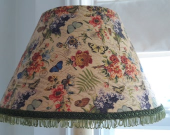 botanical cream butterfly lilac flower standard lamp shade vintage green