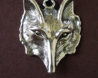 4 silver wolf head charms 28.5mm 23mm jewelry pendants