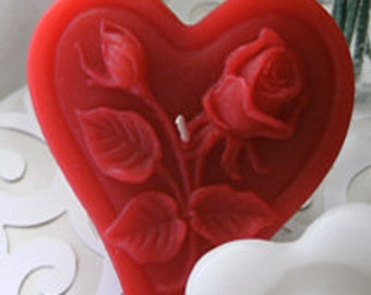 Red rose floating candle heart shaped set of 12