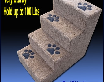 Sturdy Dog Steps, 24'H with paw prints. Pet Furniture, Dog stairs, Tall dog steps. Cat Steps, Puppy steps.