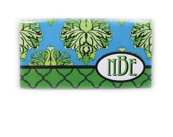Personalized checkbook cover - Lagoon - Damask - monogram checkbook holder - customized initials - dark turquoise blue  and green