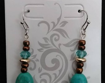 Brass and turquoise beaded earrings