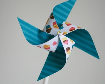 First birthday decor, cupcake toppers PINWHEELS 12 Mini Pinwheels The Sweet Life (custom orders welcomed)