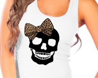 Fashion Vixen Black Skull w/ Leopard Print Bow White Tank Top S M L XL  Plus Size 1x 2x 3x 4x 5x