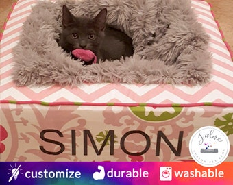 Luxury Cat Bed with Ultra Soft Blanket | Baby Pink, Chartreuse, Candy Pink | Choose Your Fabrics & Size