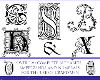 150 ALPHABETS Old and New Rare Illustrated Reference Book For Crafts People 239 Pages Printable or read on your Tablet Instant Download