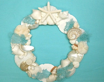 Beach Decor - Seashell and Starfish Wreath with Natural Hand-Painted Sea Fans - Choose Aqua, Blue, Turquoise, or Green Sea Glass Sea Fans