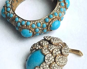 K.J.L. Signed iconic Kenneth Jay Lane early 1960's acorn clamper bracelet and acorn brooch pin, faux turquoise cabochons and rhinestones.