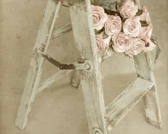 "French Country Photography, Country Kitchen Art, Rustic Old Step Stool, Pink Roses, Romantic Farmhouse Art, Neutral Print-""Forget Me Not"""