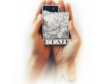 "Utah State  4"" Weatherproof and durable, Outdoor sticker, Travel sticker, Wanderlust, Mountains,  Stickers"