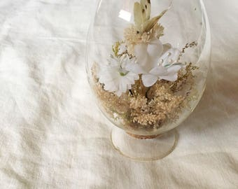 Dried flower terrarium, Butterfly terranium, dried flowers, vintage terranium, flower terraium, vintage terranium, boho decor, glass egg