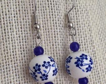 Cobalt Blue Earrings, Cobalt Blue Bridesmaid Jewelry, Blue Wedding Jewelry, Bridesmaid Gift, Glass Earrings, Cobalt Blue Wedding