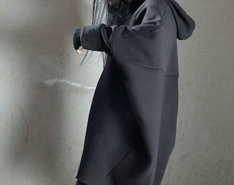 Oversized Maxi Hoodie Sweatshirt Dress - Black Baggy Cape Style Asymmetrical Long Womens Outerwear Top
