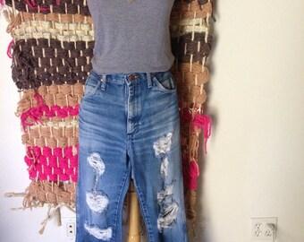 Leo vintage 70's Wrangler high waist destroyed jeans