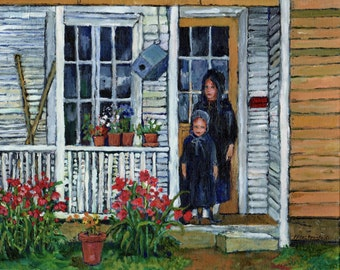 Amish Sisters PRINT of my original Oil Painting,Country, Rustic,Young Girls, Fine Art, Flowers,Front Porch,Room decor ,by Patty Fleckenstein