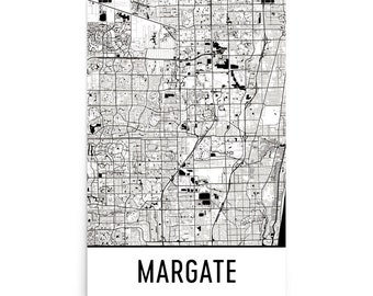 Margate Map, Margate Art, Margate Print, Margate FL Poster, Margate Wall Art, Map of Margate, Margate Gift, Margate Decor, Map Art Print