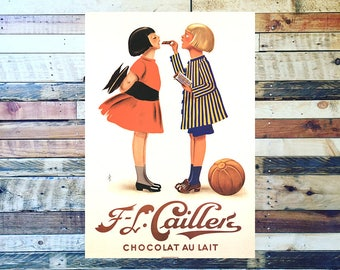 FL Caillers Vintage Chocolate Ad, Food Ad,  Vintage Chocolate Ad, Vintage Candy Ad, Vintage Art, Giclee Art Print, fine Art Reproduction
