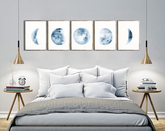 Moon Phases Watercolor Art Prints #C - Set of 5 Lunar Phases Prints - Moon Chart Posters  - Mancave Decor  Modern Gift