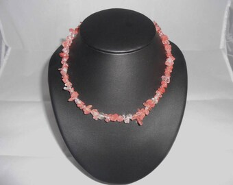 Rose Quartz chips necklace natural 4/8 mm with 925 sterling silver clasp