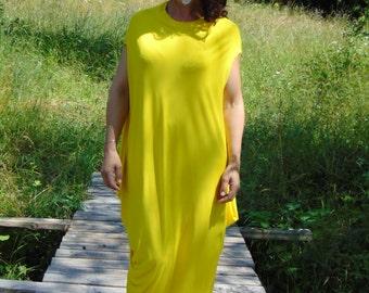 Yellow Kaftan Maxi dress/Plus size dress top/Oversize dress/Plus size dress /Party dress/Assymeric kaftan dress/All sizes available Us Uk Eu