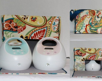 Ready to ship* XS Maryssa style Spectra Breast Pump Bag in Bright Paisley lined in lt Gray with zipper top closure