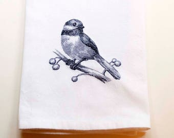 Chickadee  Tea Towel | Bird Kitchen Towel  | Embroidered Kitchen Towel | Personalized Kitchen | Embroidered Towel | Embroidered Tea Towel