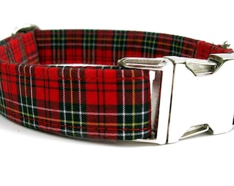 Red and Black Plaid Dog Collar - Wallace Plaid - with Nickel Plate Hardware