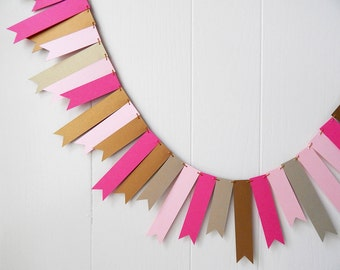 Pink and Gold Flag Garland / Wedding Garland / Bunting / Skinny Flag Fringe Garland / Shiny Photo Prop / Valentines Garland