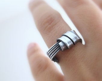 Silver ring play, unique sterling silver ring, modern, cool, everyday silver ring, gift for woman