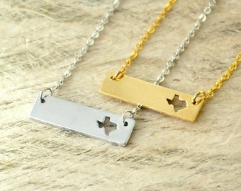 Texas  bar necklace cut out map Necklace state necklace state bar charm 2 Colors