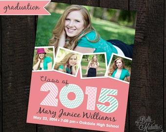 Personalized Photo Collage 2015 Senior Graduation Announcement