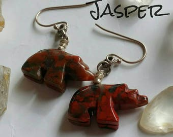 Natural Red Jasper hand carved Walking Bear Earrings