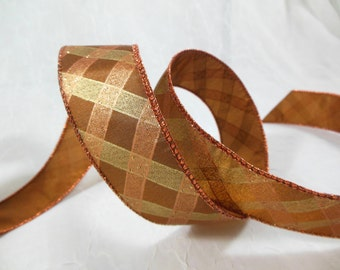 Wired Ribbon for Fall, Thanksgiving, Christmas Decor Copper and Gold Plaid