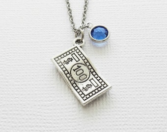 100 Dollar Bill Necklace, Money Note, American Currency Jewelry, Friendship, Birthday, Silver Jewelry, Swarovski Channel Birthstone Crystal