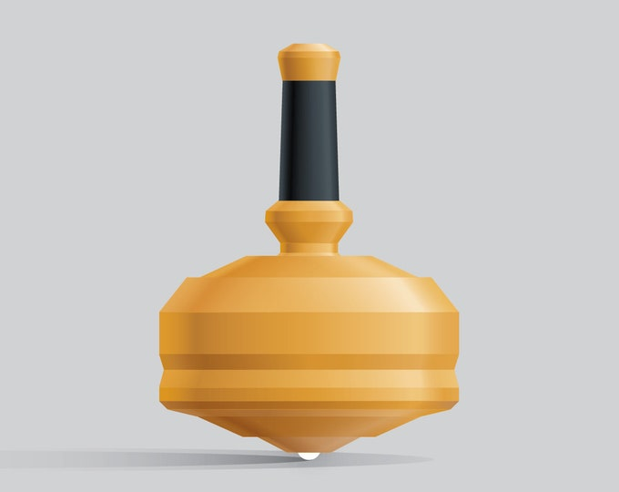 LEAP 25G-1 Yellow spin top with single ceramic tip and integrated rubber grip