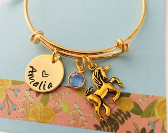 Unicorn Bracelet, Personalized Kids Bracelet, Little Girls Bracelet, Young Girl Jewelry, Gold Bracelet, Kids Bangle, Unicorn Jewelry