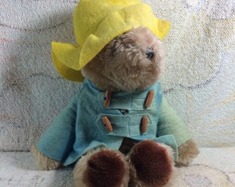 Vintage Paddington Bear Plush Stuffed Animal Eden Toys Vintage Retro Adorable Yellow Hat 1981