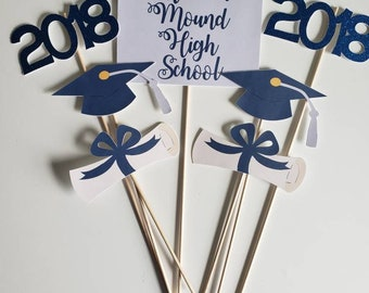 7 piece  customized graduation party centerpiece. 2017 will be made 2018