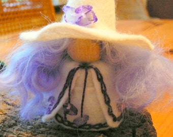 White & Amethyst Wool Felt Witch,  Peg Doll Witch, Waldorf Inspired, Miniature Witch, Art Doll